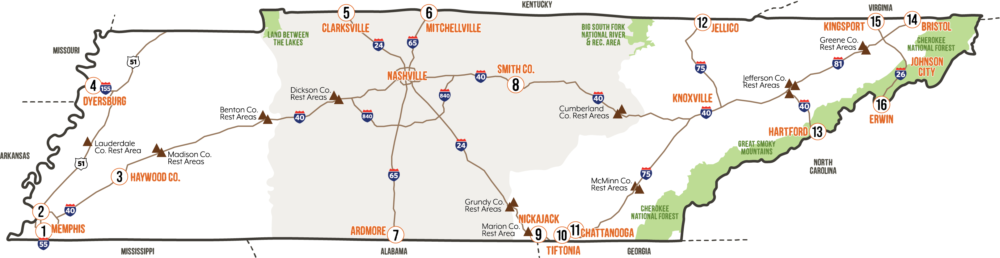 Tennessee Welcome Center Map