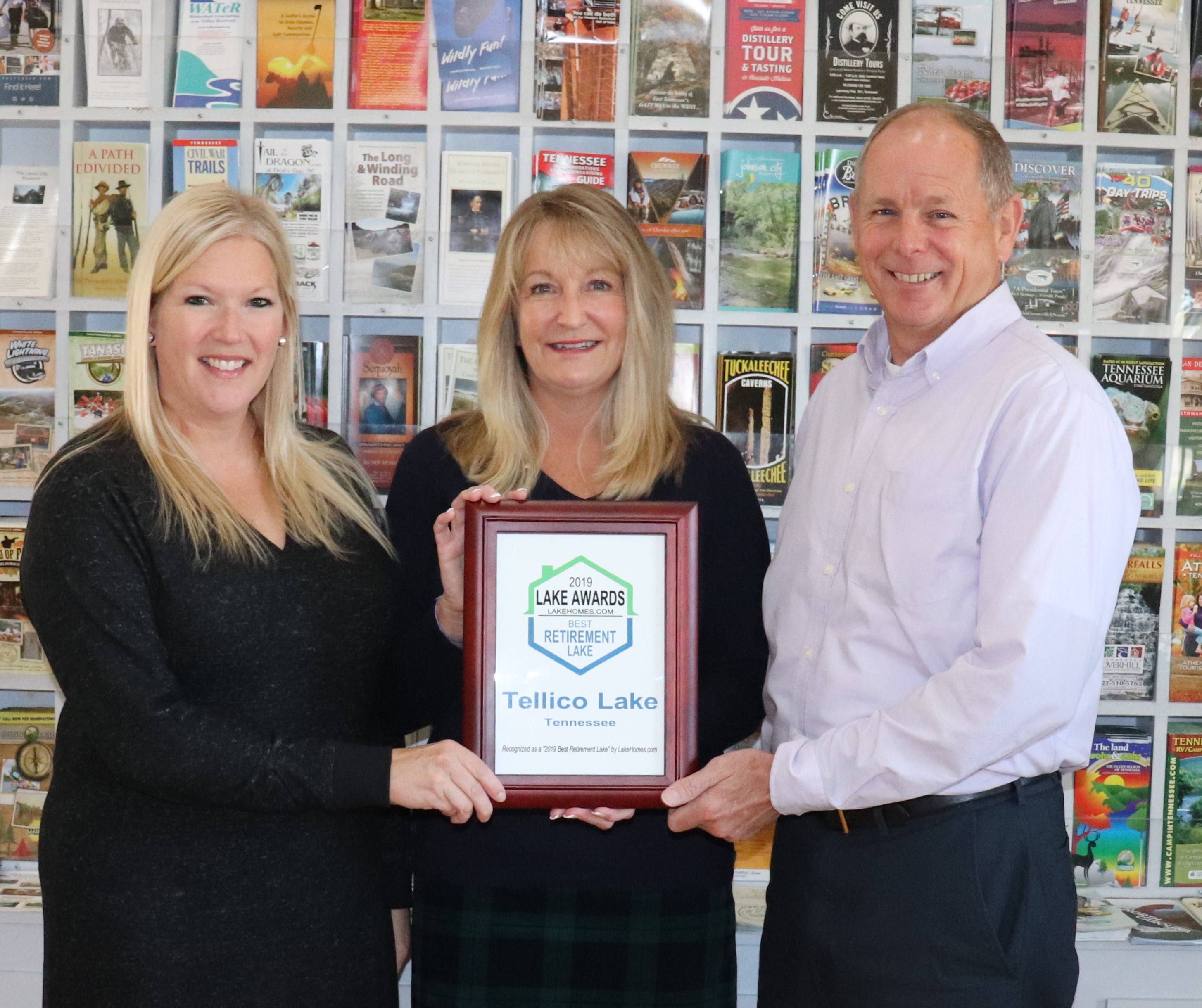 From L to R: Rachel Baker, Director of Tourism for Visit Loudon County; Karen Packett of Lake Homes Realty Listing/Selling Broker on Tellico Lake and Fort Loudoun Lake; Rodney Grugin, President of Loudon County Chamber of Commerce.