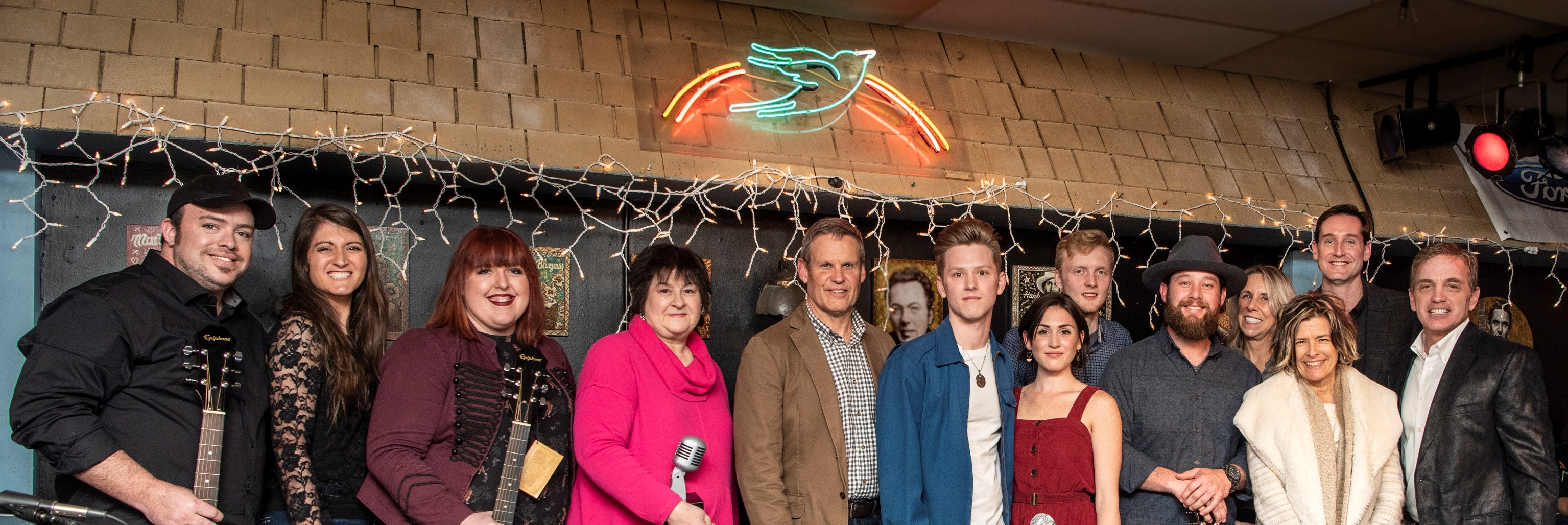 Tennessee Songwriters Week Open Mic Night winners with Gov. Bill Lee (center), performed at the famous Bluebird Cafe.