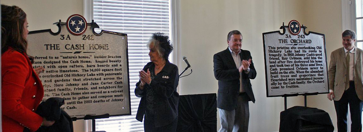 Sumner County Tourism and Joanne Cash Yates, sister of Johnny Cash (second from left) unveil historical markers for Johnny Cash and Roy Orbison.