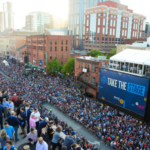 Fans flood the streets of Nashville for the 2019 NFL Draft. Photo credit: Nashville Convention & Visitors Corp.
