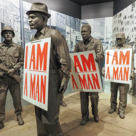 I Am A Man statues inside the National Civil Rights Museum in Memphis