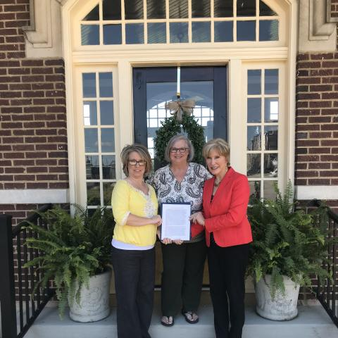 L to R: Monica Heath, Jennifer Waldrup and Mayor Jill Holland were each winners of the West Tennessee Regional Directors Tourism Week Contest.